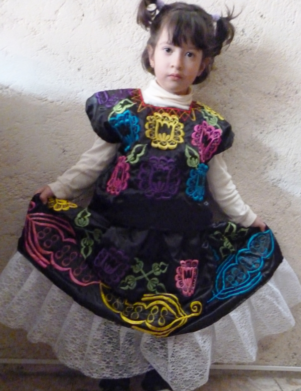 "TEHUANA ECONOMIC DRESS 60CM (23.5 "")LENGHT SKIRT 5 YEARS OLD"